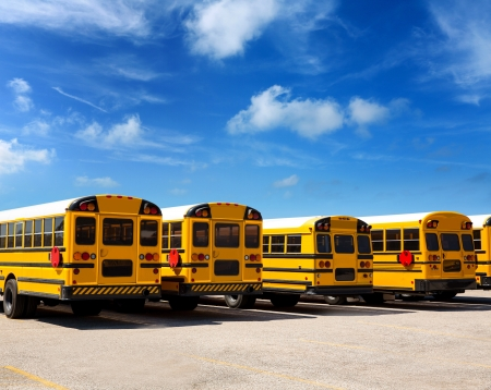 American typical school bus rear view in a row under blue sky day Stock Photo