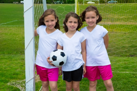female soccer: Soccer football kid girls team at sports outdoor fileld before match Stock Photo