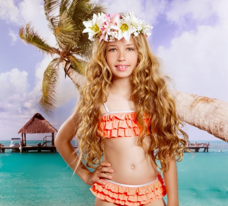 bikini island: Beach tropical vacation kid blond girl with fashion flowers in head and palm tree vintage color