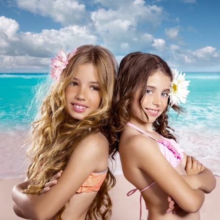 girls: children friends girls happy together in tropical beach vacation vintage color