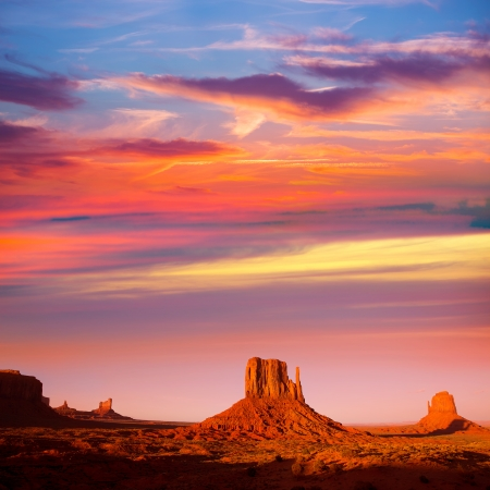 national monuments: Monument Valley West Mitten and Merrick Butte sunset Utah