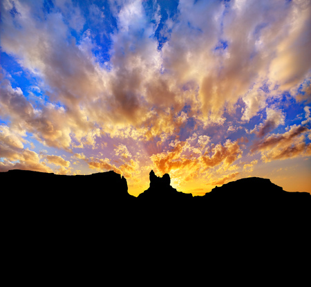 Sunset on US 163 Scenic road to Monument Valley Park Utah photo
