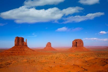 Monument Valley West en Oost Mittens en Merrick Butte Utah Stockfoto