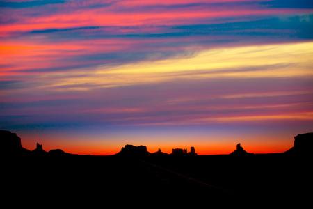 Sunrise on US 163 Scenic road to Monument Valley Park Utah Stock Photo - 22213564
