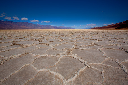 basin mountain: Badwater Basin Death Valley salt formations in California National Park