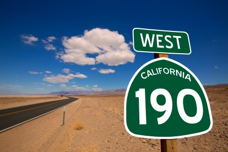 death valley: Desert Route 190 highway in Death Valley California road sign illustration Stock Photo