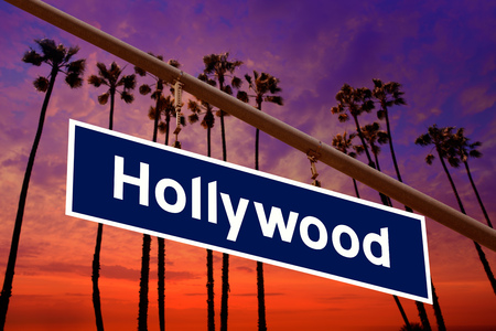 hollywood   california: Hollywood California road sign on redlight with pam trees sky photo mount Stock Photo