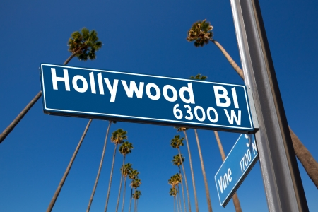 north hollywood: Hollywood Boulevard with  vine sign illustration on palm trees background Stock Photo