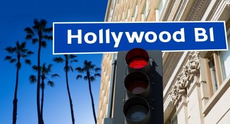 Hollywood Boulevard redlight sign illustration on palm trees background illustration