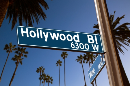 Hollywood Boulevard with  vine sign illustration on palm trees background Фото со стока