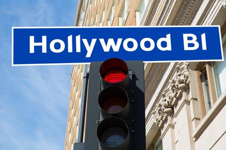Hollywood Boulevard redlight sign illustration on real background California illustration
