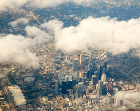 houston: Houston Texas cityscape view from aerial view airplane