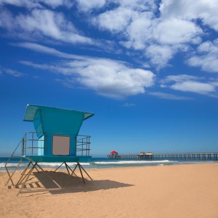 huntington beach: Huntington beach Pier Surf City USA with lifeguard tower in Caifornia Stock Photo