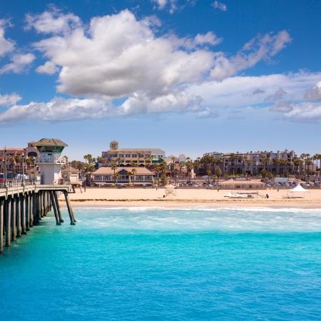 Huntington beach Surf City USA pier view with lifeguard tower and city California