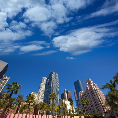 ca: LA Downtown Los Angeles Pershing Square palm tress and skyscrapers