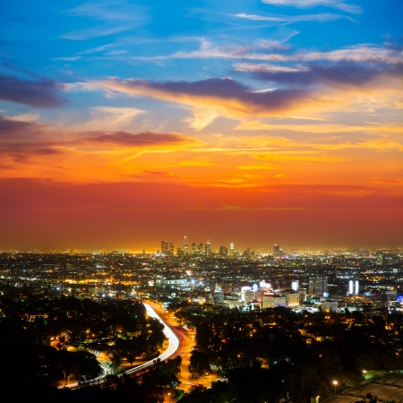 los angeles: Downtown LA night Los Angeles sunset skyline California from high view