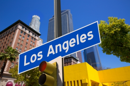 los angeles: LA Los Angeles sign in redlight photo mount on downtown image