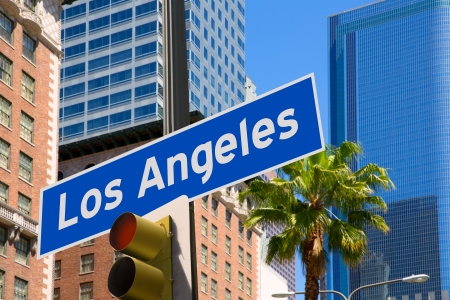 tree  shadow: LA Los Angeles sign in redlight photo mount on downtown image