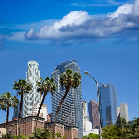 la: LA Downtown Los Angeles Pershing Square Palmen und Wolkenkratzer