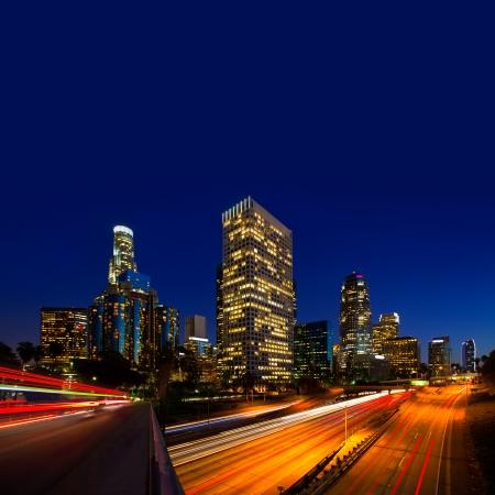 Downtown LA night Los Angeles sunset skyline California from 110 freeway photo