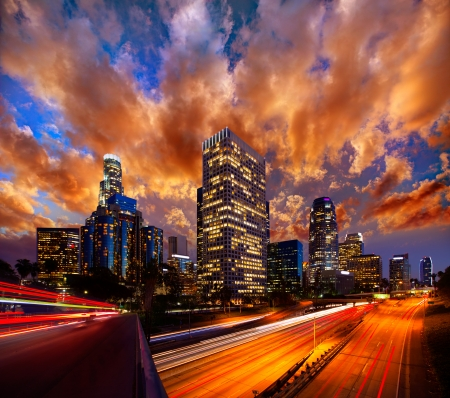 high rise buildings: Downtown LA night Los Angeles sunset skyline California from 110 freeway
