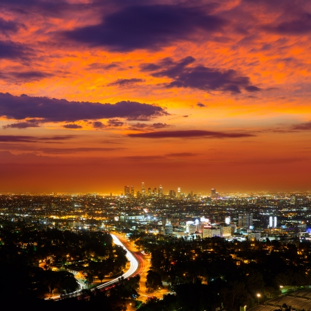 Downtown LA night Los Angeles sunset skyline California from high view photo