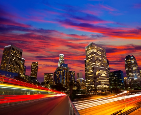 Downtown LA night Los Angeles sunset skyline California from 110 freeway photo