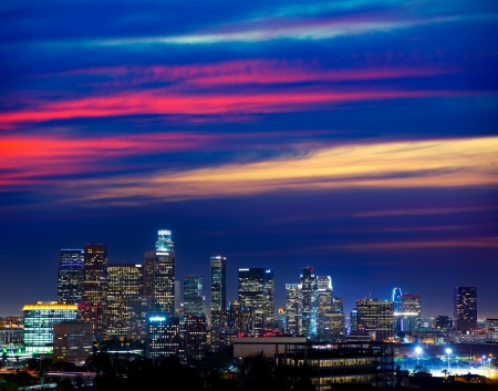 skyline at sunrise: Downtown LA night Los Angeles sunset colorful skyline California Stock Photo
