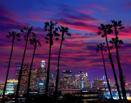 Downtown LA night Los Angeles sunset colorful skyline California Фото со стока