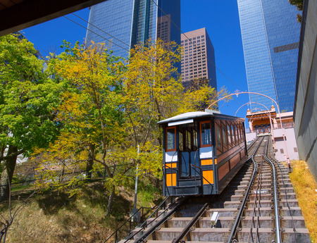 Los Angeles Angels flight funicular in downtown at Hill street photo