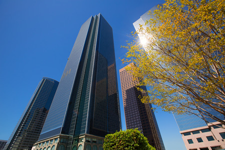 LA Los angeles downtown skyscrapers buildings viewed from below at California