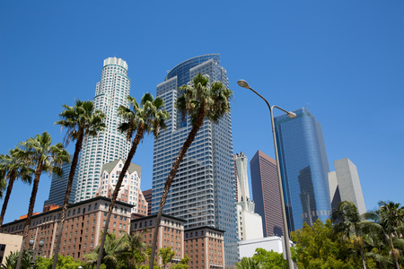 high rise buildings: LA Downtown Los Angeles Pershing Square palm tress and skyscrapers