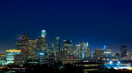 american city: Downtown LA night Los Angeles sunset colorful skyline California Stock Photo