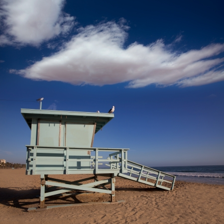 Santa Monica beach lifeguard tower in California USA photo
