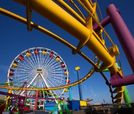 Papá moica muelle Ferris Wheel en California EE.UU. Foto de archivo - 22394865