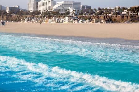 california beach: Santa Monica beach view from pier in California USA