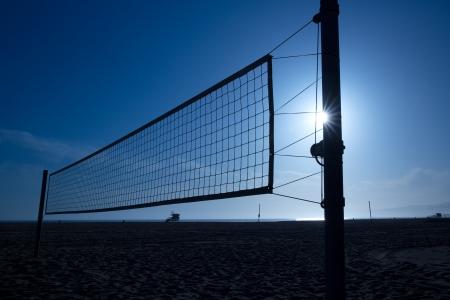 volleyball net: beach volleyball  voley net in Santa Monica at sunset California USA Stock Photo