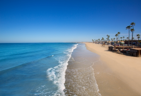 newport: Newport beach in California with palm trees along the shore Stock Photo