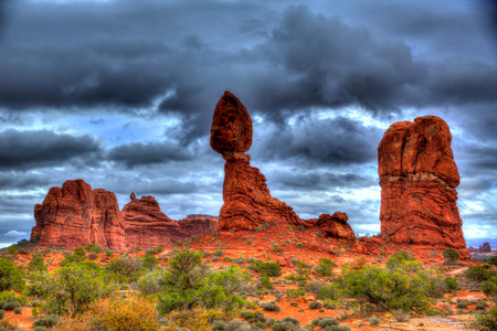 arches national park: Arches National Park Balanced Rock in Moab Utah USA Stock Photo