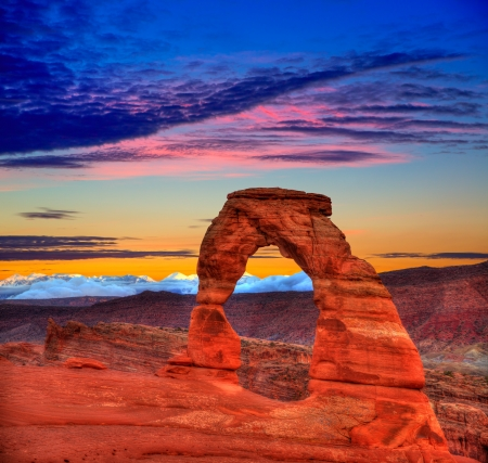 rock arch: Arches National Park Delicate Arch sunset in Moab Utah USA