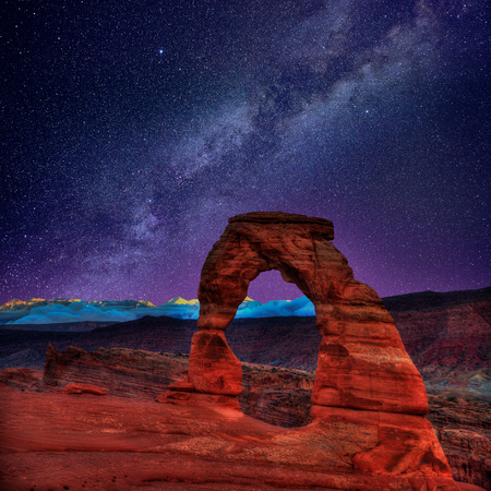 Arches National Park Delicate Arch milky way night sky in Moab Utah USA  Stock Photo - 22476482