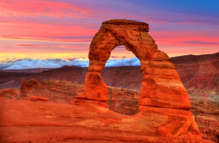 arches national park: Arches National Park Delicate Arch sunset in Moab Utah USA