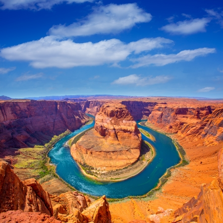 Arizona Horseshoe Bend meander of Colorado River in Glen Canyon photo