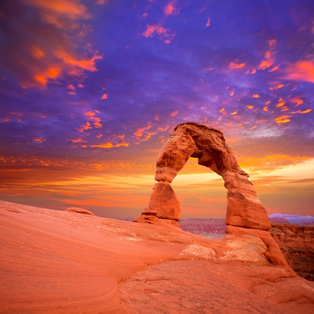 Arches National Park Delicate Arch sunset in Moab Utah USA