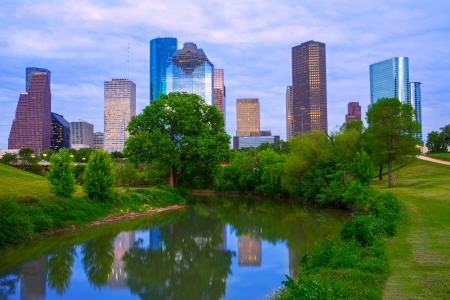 houston: Houston Texas modern skyline from park river US Stock Photo
