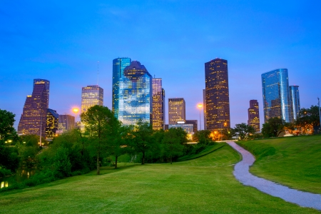 city park skyline: Houston Texas modern skyline at sunset twilight from park lawn