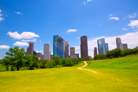 Houston Texas Skyline with modern skyscapers and blue sky view from park lawn