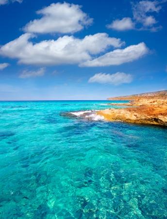 sant: Formentera Es Calo de Sant Agusti turauoise sea at Balearic Islands