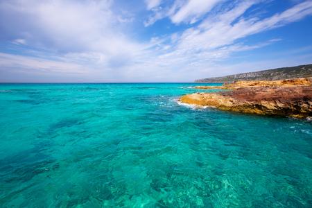 es: Formentera Es Calo de Sant Agusti turauoise sea at Balearic Islands