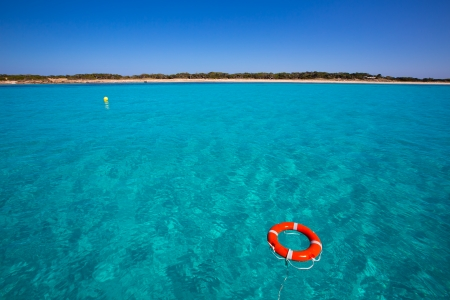 beach buoy: Formentera Illetes Illetas with round buoy view from sea at Balearic Islands
